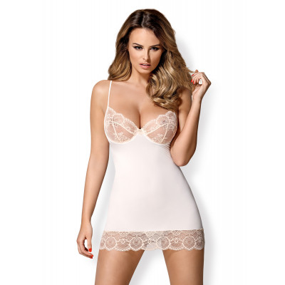 Obsessive White Chemise with Lace Cups and Thong