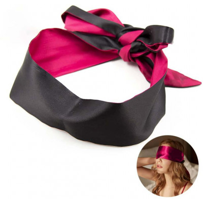 Pink-Black Satin Blindfold Scarf