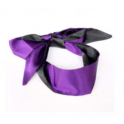 Purple-Black Satin Blindfold Scarf