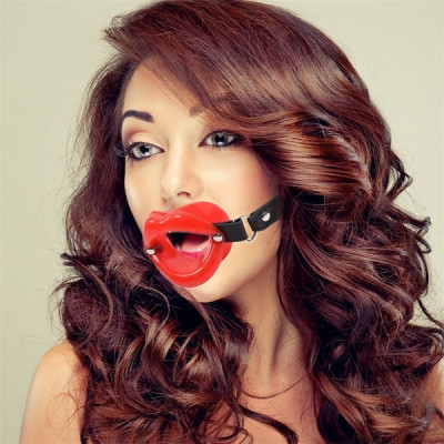 Red Lip Open Mouth Gag with strap Naughty Toys