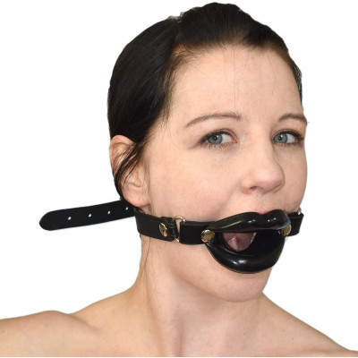 Black Open Lip Mouth Gag with strap Naughty Toys