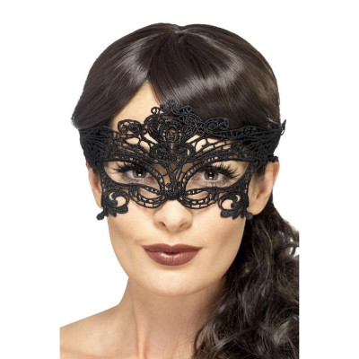 Charming Black Embroidered Eye Mask