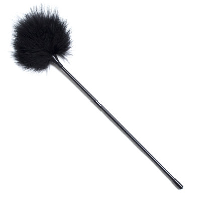 Black soft feather playfull tickler teaser 40 cm