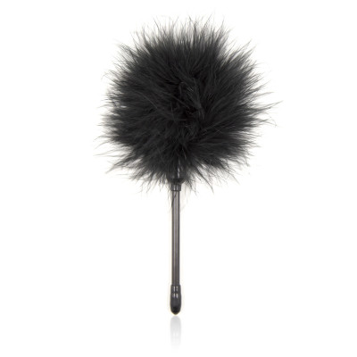 Black soft feather playfull tickler 20 cm