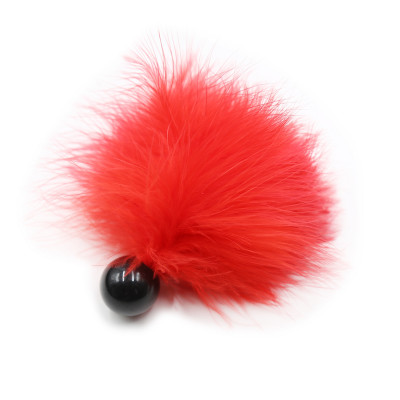 Red feather tickler with bead base handle 12 cm