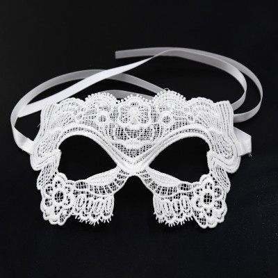 White Embroidered Eye Mask