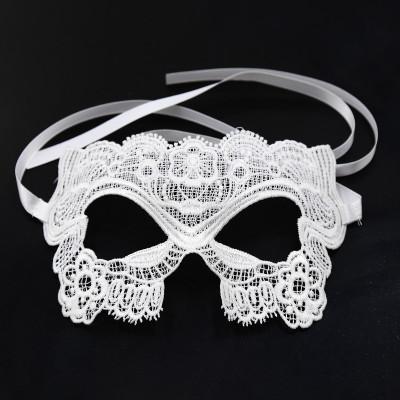 White Embroidered Eye Mask