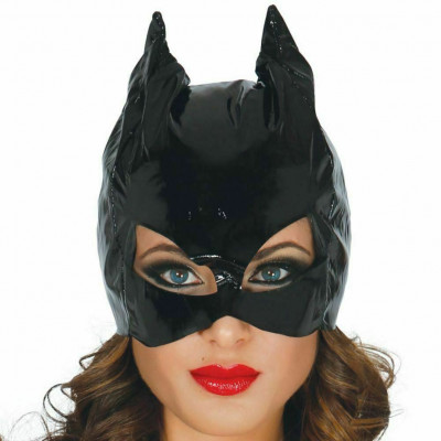 Black shiny Catwoman Mask Hood