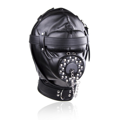 Bondage Multiplex Sensory Deprivation Black Leather hood