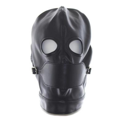 Bondage Black Leather Fetish Hood Mouth Gag Opening