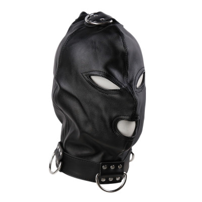 Bdsm Leather Black Hood with side metal o-rings