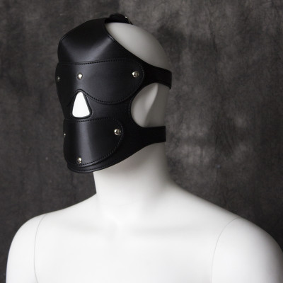 Bdsm Bondage Leather Black harness Hood with ball gag