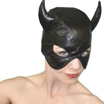 Devils BLACK Leather Half Face Role Play Hood Harness