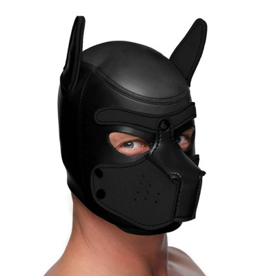 Large size Bondage Dog Puppy Neoprene Hood