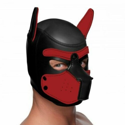 LARGE Black-Red Bondage Dog Puppy Neoprene Hood