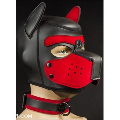 Μικρή Φετίχ Μάσκα σκύλου ΜΑΥΡΟ-ΚΟΚΚΙΝΟ για γυναίκες S-M