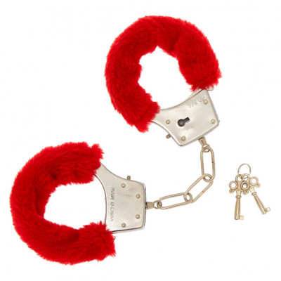 Naughty Toys Furry Wrist Cuffs Red