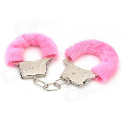 Fetish Play Pink Furry Metal Handcuffs