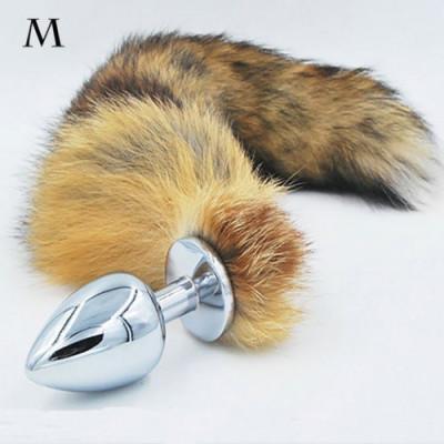 Authentic Fox fur Tail with metal butt plug MEDIUM