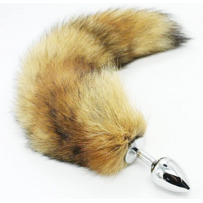 Synthetic Fox Tail with metal butt plug-LARGE
