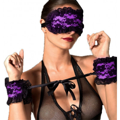 Naughty Toys Purple Lace-Satin Blindfold with Hand Cuffs
