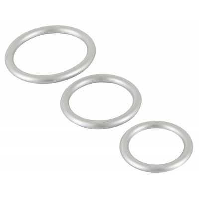 Metalic Silicone Cock Rings Set Silver