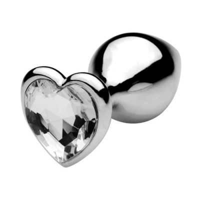 MEDIUM Heart Base Metal butt plug CLEAR 8 cm