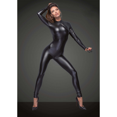 Noir Powerwetlook Jumpsuit with Two-way Zip and Leash