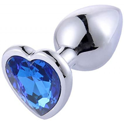MEDIUM Heart Base Metal butt plug Blue 8 cm