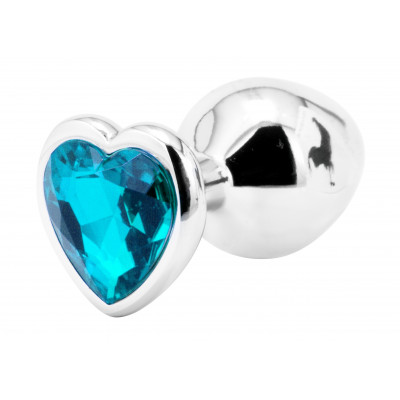 SMALL Heart Base Metal butt plug TURQUOISE 7 cm