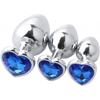 Set three heart metal anal plugs Blue Jem S M L