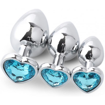 Set three heart metal anal plugs TURQUOISE Jem S M L