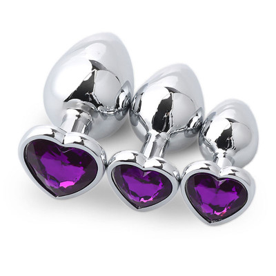 Set three heart metal anal plugs Violet Jem S M L