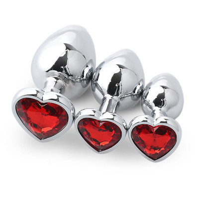 Set three heart metal anal plugs RED Jem S M L