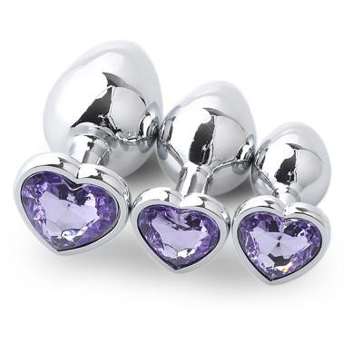 Σετ τρείς μεταλλικές πρωκτικές σφήνες με μωβ κόσμημα σχήμα καρδιάς
