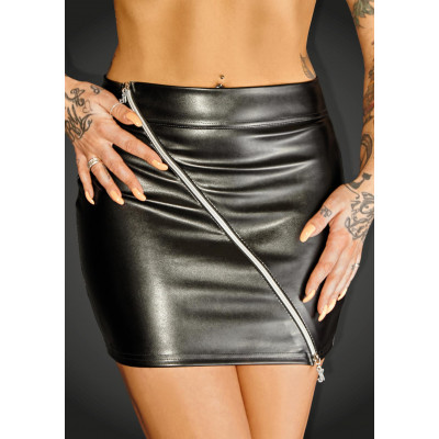 Noir Handmade Eco-Leather Miniskirt with 2 ways Zip