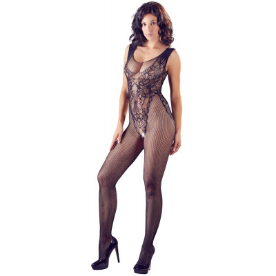 Fishnet Catsuit With an Integrated Lace Body