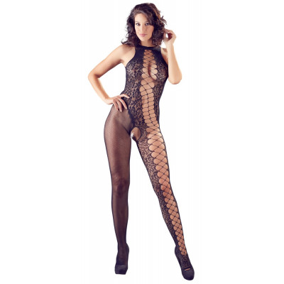 Seductive Catsuit With Various Net Textures