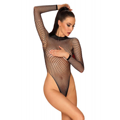 Obsessive Plus Size Mindblowing Net Teddy Black