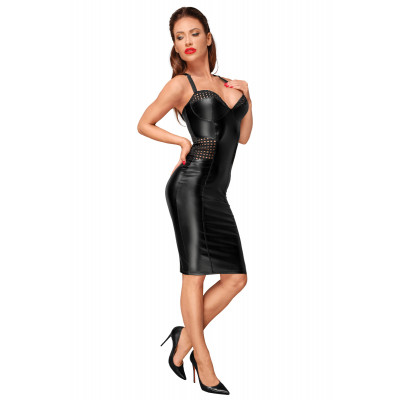 Noir Handmade Powerwetlook Pencil Dress with Chequered Tape Inserts
