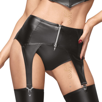 Noir Handmade Powerwetlook Garter Belt with Silver Zipper