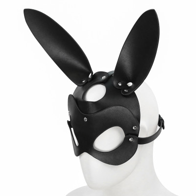 Black Leather Bunny Mask O/S