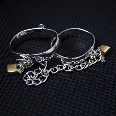 Large Metal Handcuffs or Ankle Cuffs with Paddlocks 8X6.3 cm