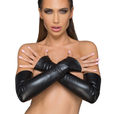 Noir Handmade Wetlook Fingerless Gloves