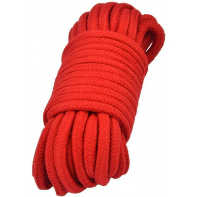 BDSM Cotton Bondage Rope with metal ends 20 Meters RED