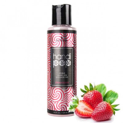 Sensuva Handipop Kissable Hand Job Massage Gel Strawberry 125 ml