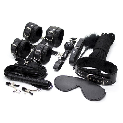 BDSM Bondage BLACK Set 10 Accessories