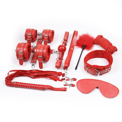 Complete BDSM Bondage Classic Red Set 10 Accessories