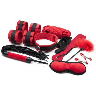 Naughty Toys Bondage Set Red Black 9 pcs
