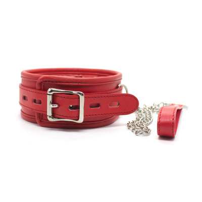 Red foam padded Leather Neck collar with Metal Chain Leash